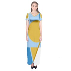 Blue and yellow abstract design Short Sleeve Maxi Dress
