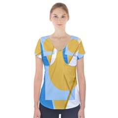 Blue And Yellow Abstract Design Short Sleeve Front Detail Top