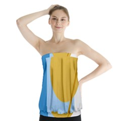 Blue and yellow abstract design Strapless Top