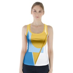 Blue and yellow abstract design Racer Back Sports Top