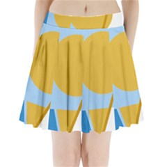 Blue And Yellow Abstract Design Pleated Mini Mesh Skirt