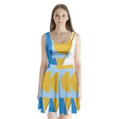 Blue and yellow abstract design Split Back Mini Dress
