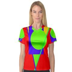 Colorful geometric design Women s V-Neck Sport Mesh Tee