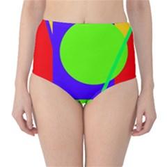 Colorful geometric design High-Waist Bikini Bottoms