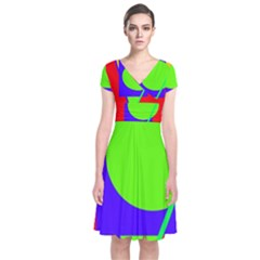 Colorful geometric design Short Sleeve Front Wrap Dress