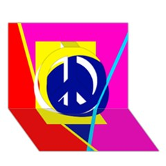 Colorful geometric design Peace Sign 3D Greeting Card (7x5)