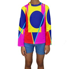 Colorful geometric design Kid s Long Sleeve Swimwear