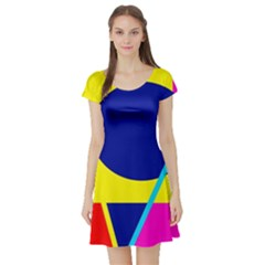 Colorful geometric design Short Sleeve Skater Dress
