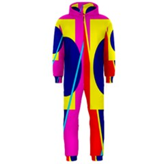 Colorful geometric design Hooded Jumpsuit (Men)
