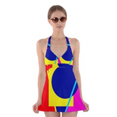 Colorful geometric design Halter Swimsuit Dress