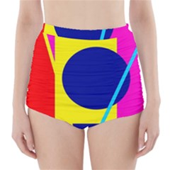 Colorful geometric design High-Waisted Bikini Bottoms