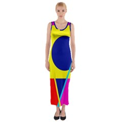 Colorful geometric design Fitted Maxi Dress