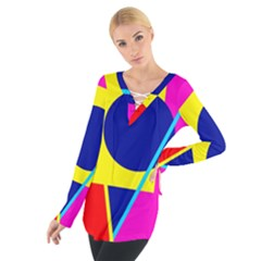 Colorful geometric design Women s Tie Up Tee