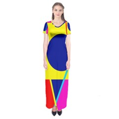 Colorful geometric design Short Sleeve Maxi Dress
