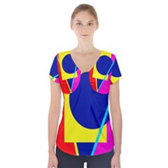 Colorful geometric design Short Sleeve Front Detail Top