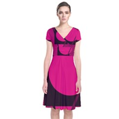 Decorative geometric design Short Sleeve Front Wrap Dress