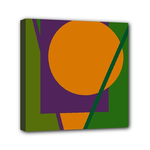 Green and orange geometric design Mini Canvas 6  x 6