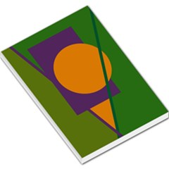 Green and orange geometric design Large Memo Pads
