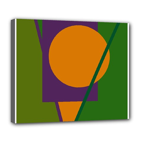 Green and orange geometric design Deluxe Canvas 24  x 20