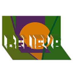 Green and orange geometric design BELIEVE 3D Greeting Card (8x4)