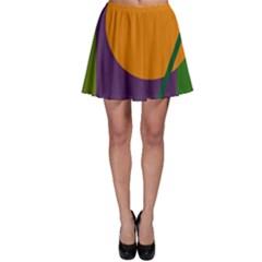 Green and orange geometric design Skater Skirt