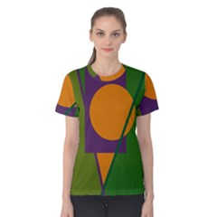 Green and orange geometric design Women s Cotton Tee