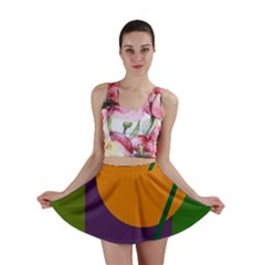 Green and orange geometric design Mini Skirt