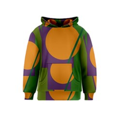 Green and orange geometric design Kids  Pullover Hoodie