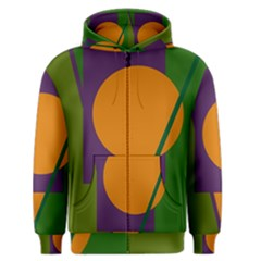 Green and orange geometric design Men s Zipper Hoodie