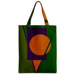 Green and orange geometric design Zipper Classic Tote Bag