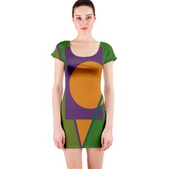 Green and orange geometric design Short Sleeve Bodycon Dress