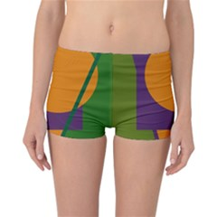 Green and orange geometric design Reversible Boyleg Bikini Bottoms