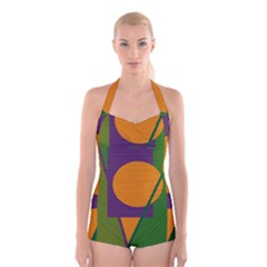 Green And Orange Geometric Design Boyleg Halter Swimsuit