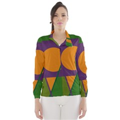 Green and orange geometric design Wind Breaker (Women)