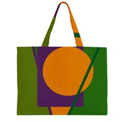 Green and orange geometric design Large Tote Bag