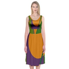 Green and orange geometric design Midi Sleeveless Dress