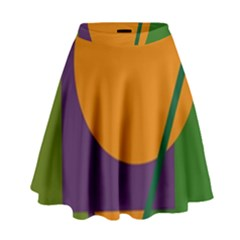 Green and orange geometric design High Waist Skirt