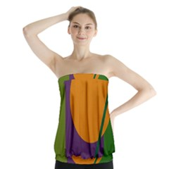 Green and orange geometric design Strapless Top