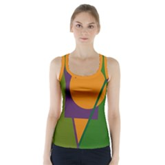 Green and orange geometric design Racer Back Sports Top