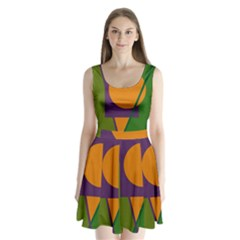 Green And Orange Geometric Design Split Back Mini Dress