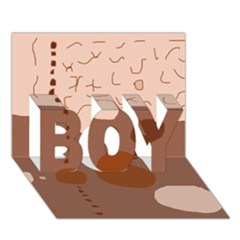 Brown abstract design BOY 3D Greeting Card (7x5)