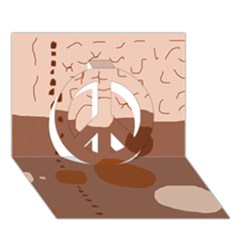 Brown abstract design Peace Sign 3D Greeting Card (7x5)