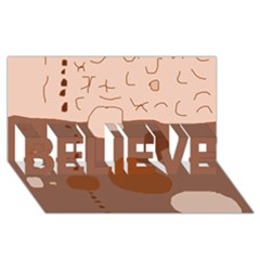 Brown abstract design BELIEVE 3D Greeting Card (8x4)