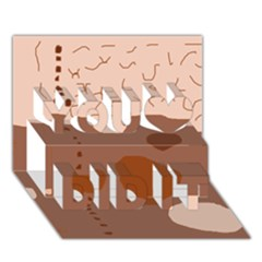 Brown abstract design You Did It 3D Greeting Card (7x5)