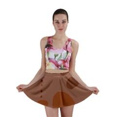 Brown abstract design Mini Skirt