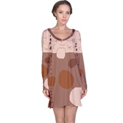 Brown abstract design Long Sleeve Nightdress