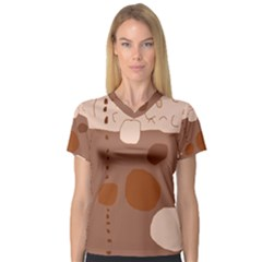 Brown abstract design Women s V-Neck Sport Mesh Tee