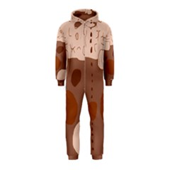 Brown abstract design Hooded Jumpsuit (Kids)