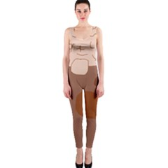 Brown abstract design OnePiece Catsuit