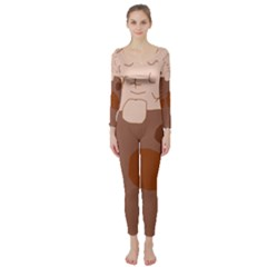 Brown abstract design Long Sleeve Catsuit